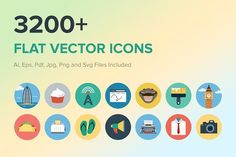 3200 Flat Vector Icons Graphics In our today's icon bundle, we have gathered together 30 different categories, including animals, av by Creative Stall Flat Design Icons, Icon Design, Design Art, Web Design, Business Brochure, Business Card Logo, Halloween Icons, Halloween Office, Currency Symbol