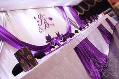 Purple and Silver Wedding Reception | Crystallized Royal Purple and Silver Wedding Receptions Decoration ...