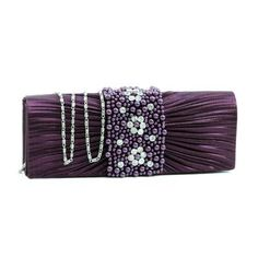 Shipping Included NEW Pleated evening bag/clutch/purse w/rhinestone & pearl accented flap Purple