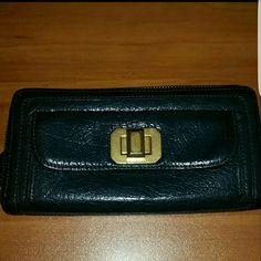 Juicy Couture Black Leather Zip Around Wallet