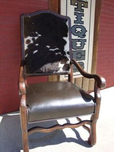 Cowhide Arm Chair Leather Seat How To Distress Wood, Modern Industrial, Cowhide Leather, Rustic Furniture, Rocking Chair, Seat Cushions, Hand Carved, Armchair, Dining Chairs