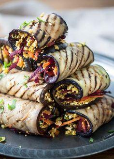 Low FODMAP & Gluten free Recipe - Eggplant rolls with quinoa - IBS Sano Pinterest exclusive recipes www.ibssano.com/...