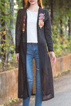 Estilo étnico floral sin cuello bordado de manga larga para las mujeres del kimono