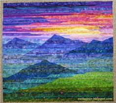 a landscape quilt by Cathy Geier. Her book is entitled Lovely Landscape Quilts. Patchwork Quilting, Batik Quilts, Art Quilting, Quilt Art, Quilting Projects, Quilting Designs, Quilting Ideas, Blog Art, Landscape Art Quilts