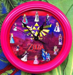 Princess Zelda Pink Wall Clock by zuzusforall on Etsy, $15.00  Very intresting piece for the girls.  Think I may get on for my daughter. Pink Wall Clocks, Big Girl Rooms, To My Daughter, Princess Zelda, Bedroom, Halloween, Unique Jewelry, Girls, Etsy