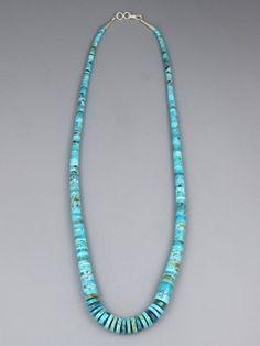 """Turquoise Heishi Necklace 23"""" by Santo Domingo artist, Ronald Chavez. Nativei American Turquoise Jewelry from Southwest Silver Gallery"""