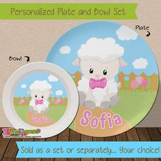 Little Lamb Plate and Bowl Set - Personalized Melamine Children Plate Cereal Bowl - Kids Dishes for Mealtime - Sheep Plate Set - Easter Gift