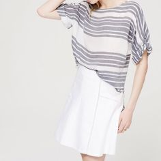 Loft Coastal Stripe Dolman Blouse Gorgeous lightweight LOFT blouse with navy and white stripes. Has roll tab sleeves and fits comfortably and flowy. LOFT Tops Blouses