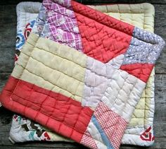patchwork potholders - these are made from vintage quilts, but something similar would be a good xmas present.