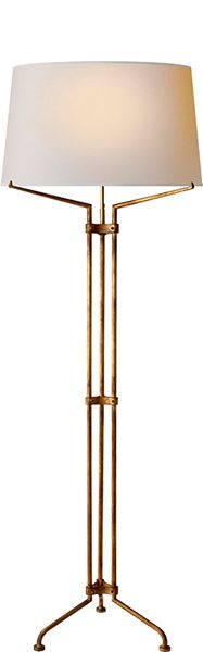 "Limited Production Design: 66"" Classic Tripod Floor Lamp * Gilded Iron * Only Few Remaining"
