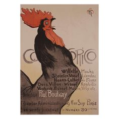 """""""Cocorico,"""" a French Belle Epoque Period Poster by Steinlen, 1899 