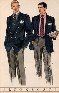 1940s Fashion, Fashion Art, Vintage Fashion, Mens Fashion, Fashion Design, Mode Vintage, Vintage Men, Ivy League Style, Ivy Style