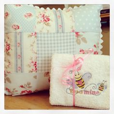 Embroidered hand towel and shabby chic inspired cushion. Handmade by B!