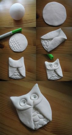 Clay owl, I bet if you used salt dough and baked it, you could turn them into pins, magnets, ornaments, etc. (attach pin/mag/etc after baking lol)