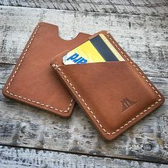 "Wallet: ""The Fort Hamilton"" (Baseball Glove Leather) – Bridge And Harbor Handmade Leather Wallet, Leather Gifts, Leather Gloves, Leather Craft, Leather Purses, Simple Wallet, Leather Business Card Holder, Wallet With Coin Pocket, Minimalist Wallet"