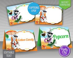 Disney Frozen Table Tent - INSTANT DOWNLOAD Food Tent Cards Frozen Birthday Printable Olaf Summer - EDITABLE Text (FZtt01)