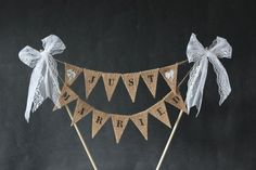 I made this cute little cake topper to announce your new found status on top of your wedding cake. Each little burlap/hessian flag measures 1 x 1.5 long