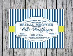 Striped Bridal Shower Invitation / DIY Printing by RejoiceGraphics