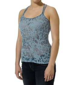 This Light Blue Sheer Burnout Tank by Silver Jeans Co. is perfect! #zulilyfinds