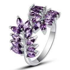 awesome Art Decco Amethyst Gemstone Silver Jewelry Fashion Women Men Ring Size 7 8 9 10 - For Sale