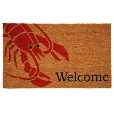'Lobster' Coir/ Vinyl Weather-resistant Doormat (1'5 x 2'5) - Surprise your guests with this adorable Lobster-themed doormat. Made of natural coir with a vinyl backed to prevent movement, this durable mat is made to stand up to high-traffic ares and makes a great addition to any porch or patio area.  http://www.overstock.com/Home-Garden/Lobster-Coir-Vinyl-Weather-resistant-Doormat-15-x-25/8814608/product.html?CID=214117 $22.99
