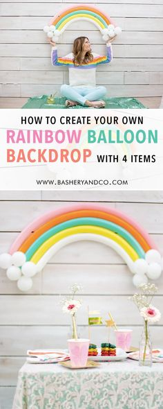 Find out how to create your own rainbow balloon backdrop with just 4 items. It's so easy to DIY a rainbow balloon backdrop for birthday parties, rainbow baby showers and even St. Patrick's Day celebrations. Creating this Rainbow Balloon Installation is super easy and adds such an adorable touch to a dessert table or photo backdrop. Come on over and see how easy it is on Bashery and Co www.basheryandco.com #rainbowparty #partyideas #diyproject #balloongarland #balloons #partyballoons