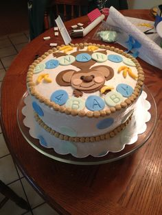 Side view of monkey cake for baby shower.