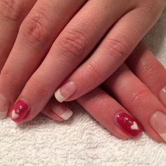 Red & white rhinestone/hearts nails #sittingpretty Heart Nails, Pretty Nails, Red And White, Hearts, Belle Nails, Cute Nails