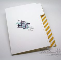 Julie's card: Work of Art, Moonlight dsp, File Tabs Edgelits, & Itty Bitty Accents. All supplies from Stampin' Up!