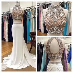 Two Pieces A-Line Prom Dresses,Long Prom Dresses,Cheap Prom Dresses,Beading Evening Dress Prom Gowns, Formal…