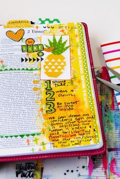 mixed media art journaling Bible list entry by Elaine Davis | be like a…