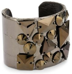 """TED ROSSI """"Urban Warrior"""" Embossed Leather Extreme Geometric Cuff Bracelet Ted Rossi. $107.80. Made in USA. A multitude of geometric Swarovski elements atop Italian embossed leather. Adjustable brass base ensures a one size fits most. Save 54% Off!"""