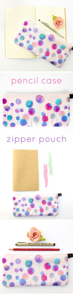 These pretty pastel flowers inspired in me a sense of peace and ease as I was designing them.   This cute pencil pouch is very versatile: use it to carry your make-up essentials, to stash your favorite glitter pens and washi tape, or your crochet hooks!  This zipper pouch makes it easy to keep everything neat and organized. Plus, it brings a touch of whimsy to your every day routine! - by Drawing Joy