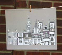 London Buildings Illustration Print by Helena Carrington
