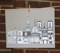 London Buildings Illustration Print