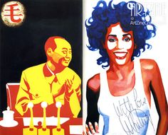 """""""Mao with Whitney,"""" 1989. By Chinese Political Pop (政治波谱) artist Yu Youhan (余友涵). #RIP."""