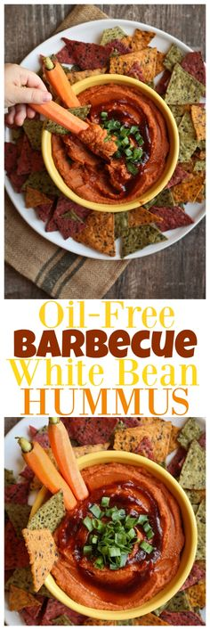Oil-Free Fat-Free Barbecue White Bean Hummus. Smoky barbecue flavor with a slightly spicy kick, tons of flavor and zero guilt!
