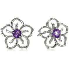 Sterling Silver Sky Flower Stud Earrings Friction-back post | eNew Style