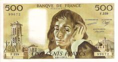 Paper 500 franc of Pascal Blaise, France. French Franc, Tour Saint Jacques, Le Sphinx, Nostalgia, Money Notes, Contemporary African Art, Old Money, World Coins, Peace And Love