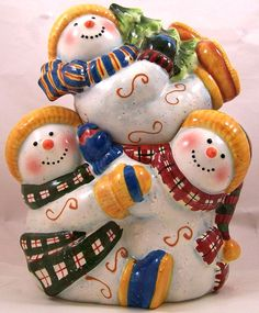 Susan Winget Hugging Snowman Cookie Jar Playful Snowmen Children Rare #SusanWinget