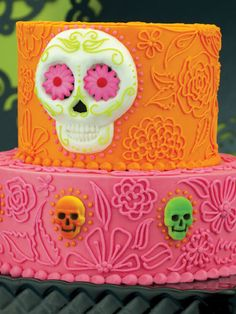I love this without the skulls. It's bright and happy. I like the floral design.