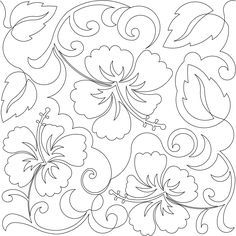 Hibiscus / Pantograph by Deb Geissler Hawaiian Quilt Patterns, Hawaiian Quilts, Hand Embroidery Designs, Embroidery Patterns, Machine Embroidery, Quilting Stencils, Quilting Projects, Flower Art Drawing, Folk Art Flowers