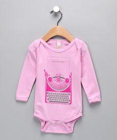 All Good Living Kids  Pink Writer Organic Bodysuit - Infant  (original $27.00) $9.49