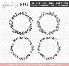 Wreath SVGs, floral, laurels, flowers, leaves, SVG, DxF, EpS, Quote SVG, Cut File, Cricut, Silhouette, Instant download, Iron Transfer