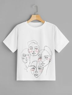 To find out about the Abstract Figure Print Tee at SHEIN, part of our latest T-Shirts ready to shop online today! T Shirt World, Latest T Shirt, T Shirts For Women, Clothes For Women, Printed Tees, Direct To Garment Printer, Diy Clothes, Shirt Style, Graphic Tees