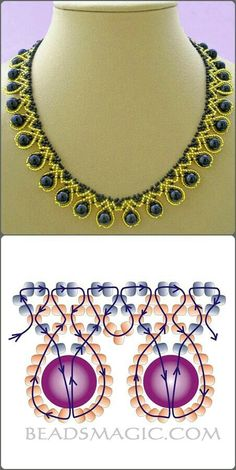 Collar dorado y goldene und blaue Halskette mit Umriss Source by dkrawwczyk Rhonda's Creative Life such a pretty way to manipulate stripes Free pattern for necklace Tend collar blue pearl with seed beads Seed Bead Jewelry, Bead Jewellery, Seed Beads, Beading Jewelry, Bead Earrings, Diamond Jewelry, Beaded Necklace Patterns, Beaded Bracelets, Beaded Jewelry Designs
