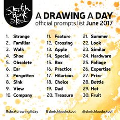 Here are the Drawing A Day Challenge prompts for the month of June.