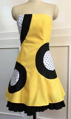 Flirty 1980s Jessica McClintock Yellow/White/Black Polka Dot Taffeta Sleeveless Knee-Length Vintage Dress  w/ crinolines.  (10090CL) by LipstickGirlVintage on Etsy