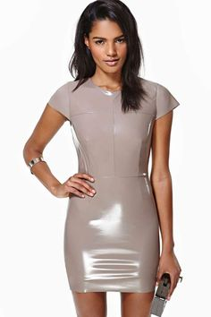 Nasty Gal Pink Virtuosity Dress The absolute coolest taupe dress featuring vinyl fabric, cap sleeves and seamed detailing. Zip/hook closure at back, fully lined. By nasty gal. Sexy Latex, Fetish Fashion, Latex Fashion, Vinyl Dress, Latex Lady, Latex Dress, Latex Girls, Leather Dresses, Sensual