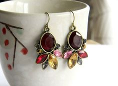 Fashion Jewelry Antique Vintage Statement Resin Stone Gold Drop Earrings